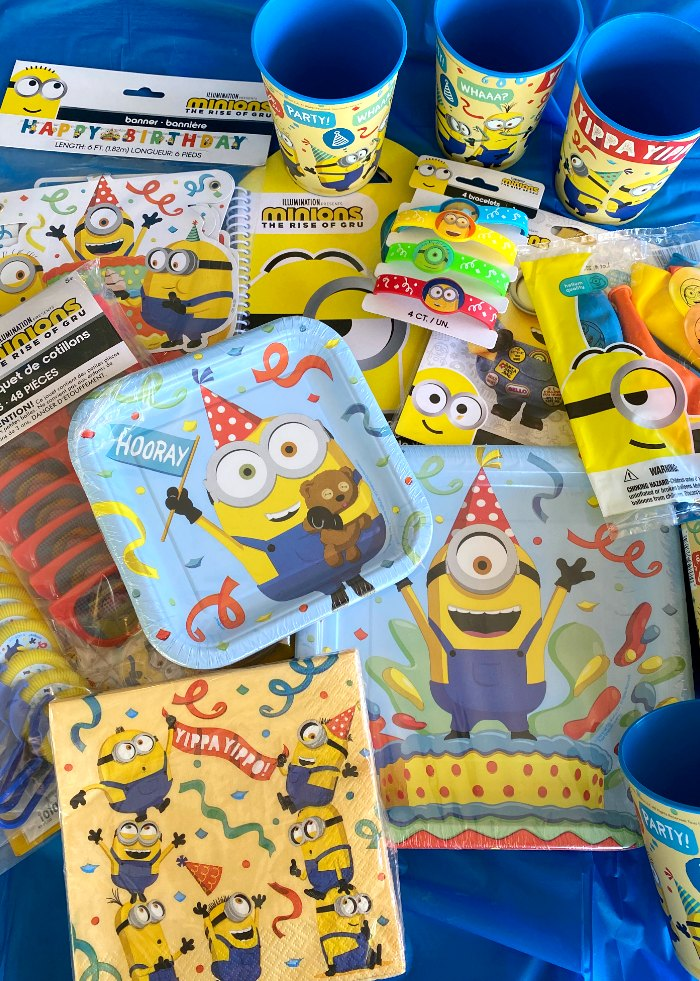 Assortment of Minions party supplies
