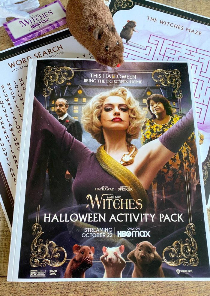 Witches Activity Booklet with printed sheets and toy mouse