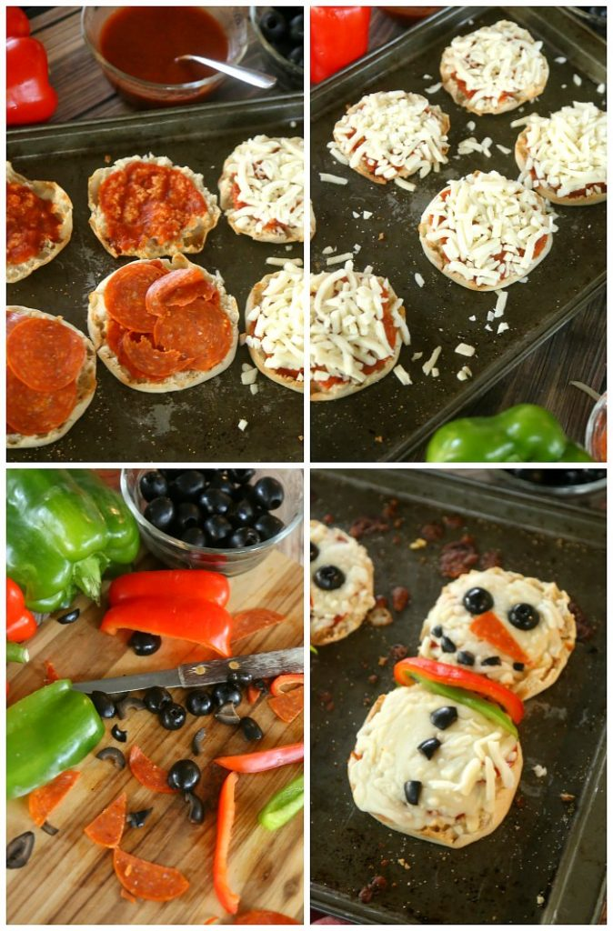 Collage of photos with steps of making snowman pizzas