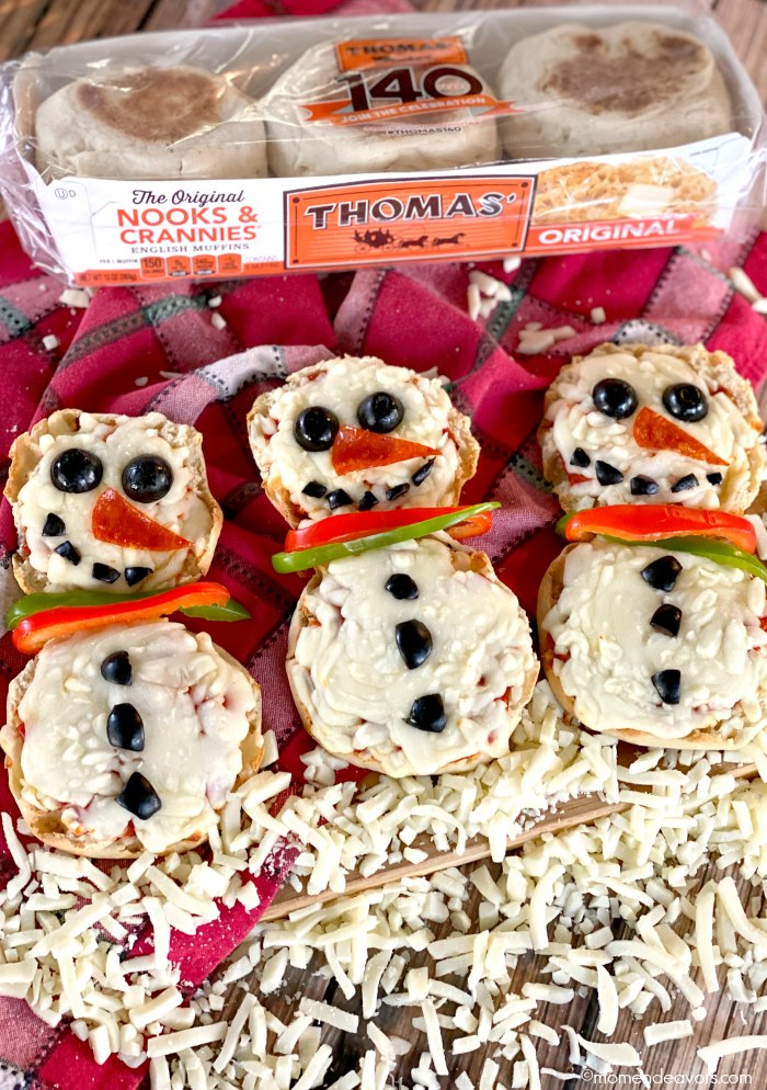 Thomas English Muffins package with 3 snowman pizzas