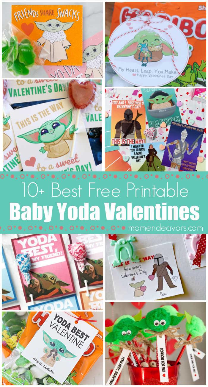 Collage of Baby Yoda Valentines