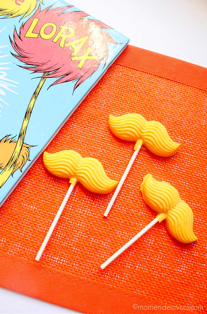 3 yellow candy Lorax mustaches
