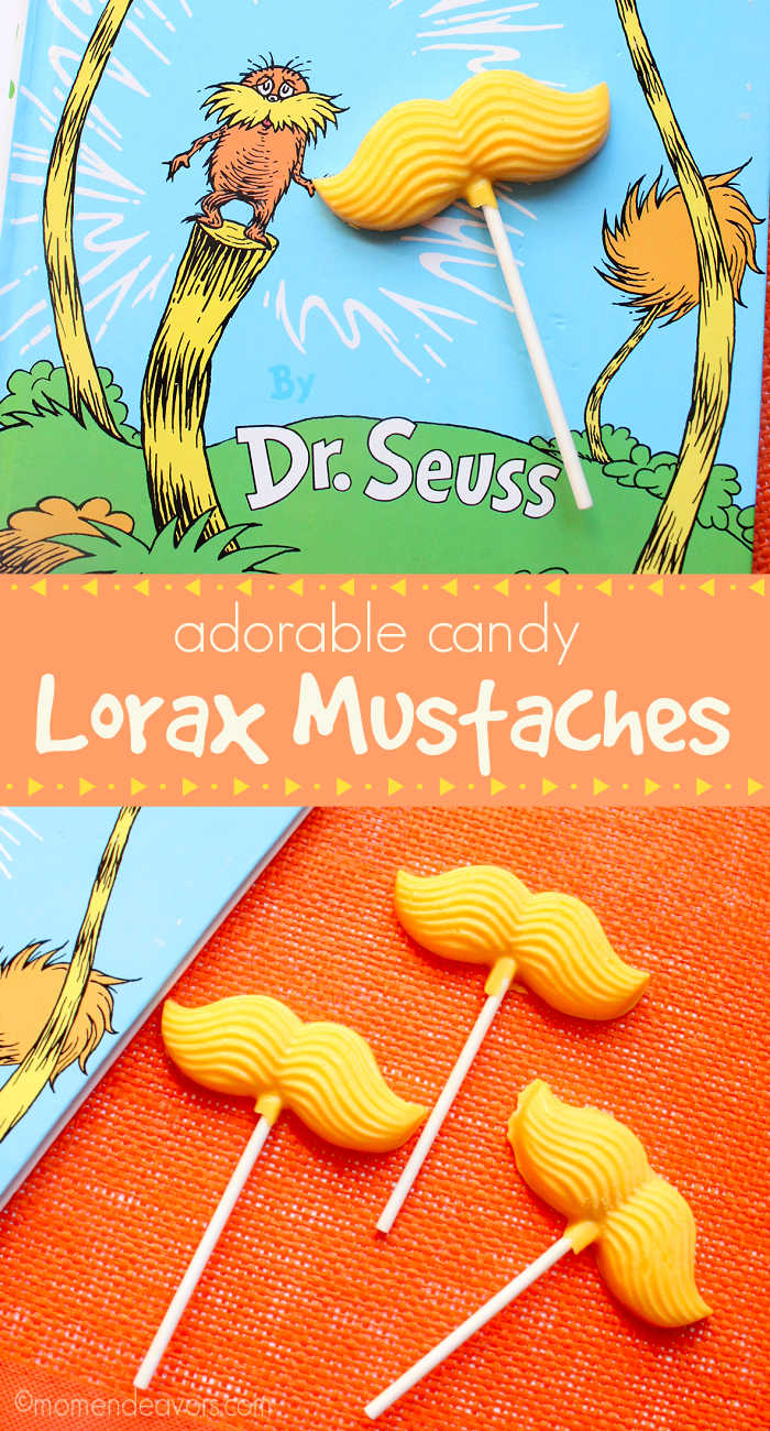 Collage of yellow candy Lorax mustaches