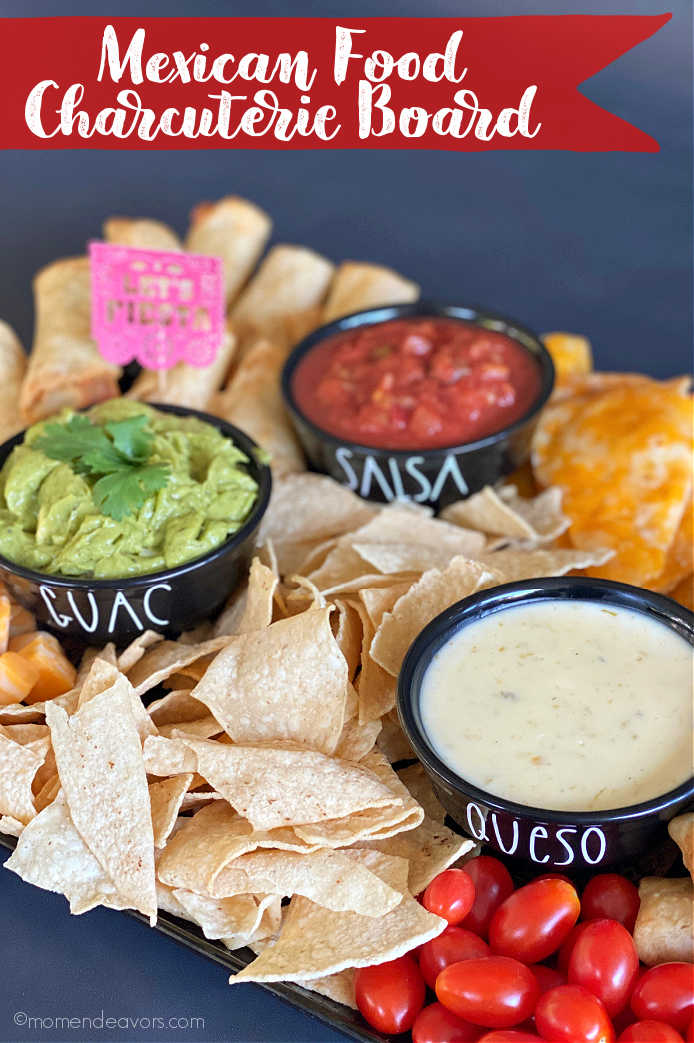 Dip Bowls on a Mexican Food Charcuterie Board