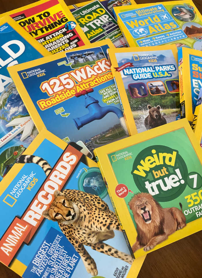 An assortment of National Geographic Kids Books