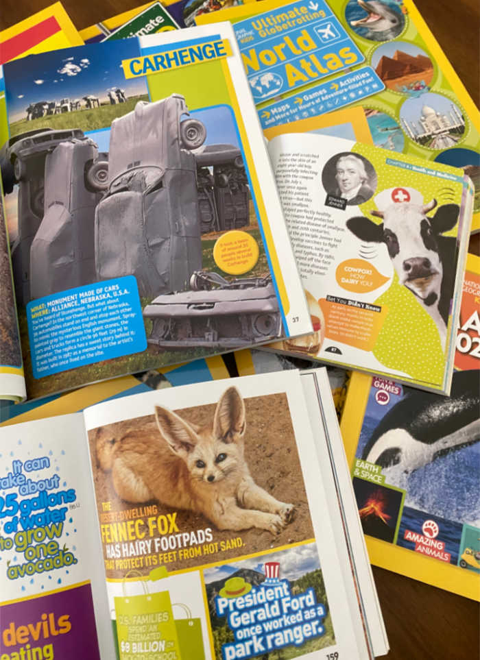 Inside pages of some National Geographic Kids Books